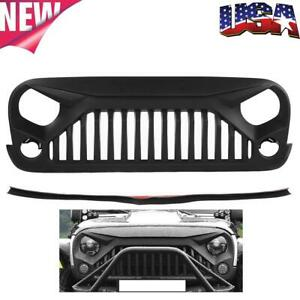For Jeep Wrangler Jk 07 18 Black Abs Grille Grill Guard Cover Protective Cover