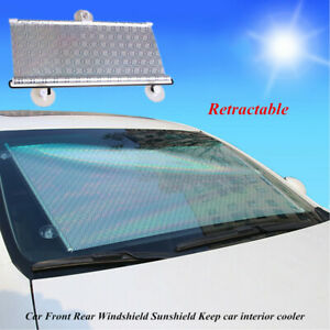 Retractable Car Front Rear Windshield 50x125cm Sunshade Uv Visor Curtain Cooling