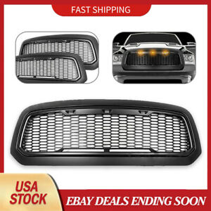 For 2013 2017 Dodge Ram Raptor Style Matte Black Replace Mesh Grille Shell Amber