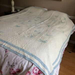 Antique Vtg Quilt Embroidered Blue Birds Hand Quilted 78x76 Farm Cot Rustic