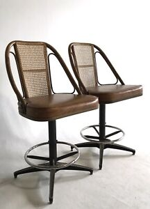 2 Vintage Boho Rattan Cane Bamboo Hollywood Regency Mid Century Swivel Bar Stool