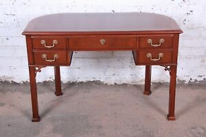 Baker Furniture Chippendale Style Mahogany Demilune Writing Desk