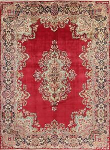 Persian Decorative Area Wool Rug Hand Knotted Oriental Floral 10 X 14 Red Carpet