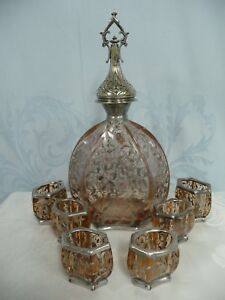 Ornate Antique Rose Colored Decanter W Silver Overlay 6 Matching Cups