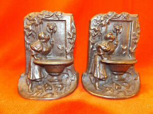 Vintage Marked Bronze Met Bookends Lady Girl At The Well Nice Patina Cast Iron