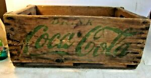 Vintage DRINK COCA COLA Wooden Crate COKE Green 20