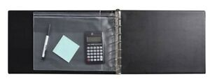 7 Ring Business Binder 3 on a page Zippered Leather Check Book Vinyl Black