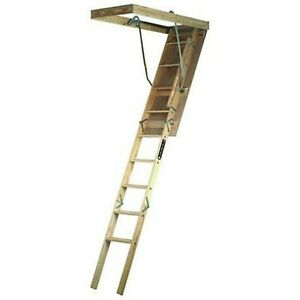 Louisville Ladder 22 5 By 54 inch Wooden Attic Ladder 7 Foot To 8 foot 9 inc