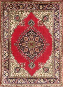 Floral Medallion Persian Wool Area Rug Hand Knotted Oriental Red Carpet 8 X 11