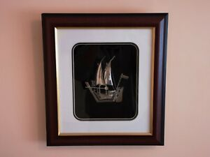 Sterling 925 Silver Sailing Boat Model In Wooden Glass Wall Frame
