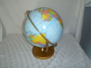 Vintage Mid Century Replogle World Nation Series Globe With Metal Stand Vgc