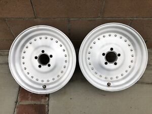Vintage 15x3 1 2 Centerline Aluminum Drag Wheels Hot Rod Rat Rod Nhra Scta 5x4