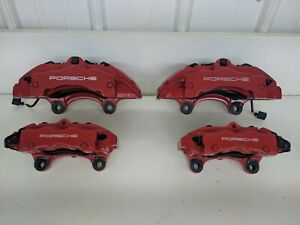 03 08 Porsche Cayenne Turbo Brake Caliper Set Front Rear Left Right Red 955 Oem