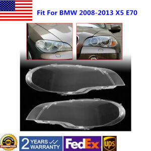 Pair Right Left Headlight For Bmw X5 E70 330i 2008 2012 2013 Clear Lens Cover