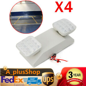 4pcs Led Emergency Exit Light Lamp Lighting Fixture Twin Square Heads Usa Stock