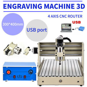 4 Axis 3040 Cnc Router Engraver Machine 3d Carving Mill Drill Woodworking 400w