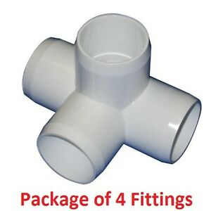 3 4 Furniture Grade 4 way Side Outlet Tee Pvc Fitting 4 Pack