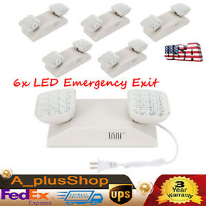 6x Led Emergency Exit Light Lamp Backup Battery Lighting Fixture Two Square Head