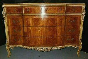 Vintage French Provincial Joerns Carved Dresser Chest Of Drawers Burl Mahogany