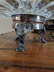 Rare F B Rogers Silver Co 1883 Revolving Crystal Cake Plate