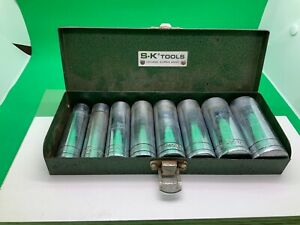 S K Tools 8 Pc 1 2 Dr 1 2 15 16 Deep Socket Set W Case Good Condition Usa