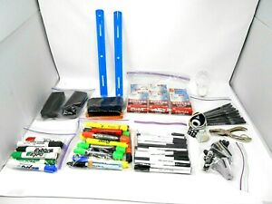 Mixed Lot Of Office Supplies Ink Pens paper Clips dry Erase Markers highlighters