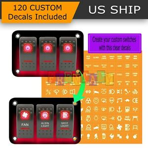 12v 20a 3 Gang 5pin Laser Rocker Switch Panel Kit Car Truck Boat Red Led Button