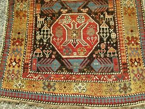 Antique Caucasian Shirvan Wool On Wool Ruggreat Tribal Design W Animal Motifs