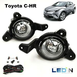 Clear Fog Light Kit For 2018 2019 Toyota C Hr Chr Wire Switch Bracket Lh Rh Pair