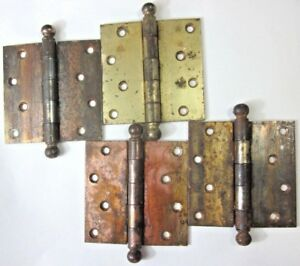 1 Antique National 4 Square Hinge Ball Tips Finials Mortise Door Brass Plated