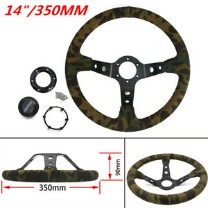 350mm 14 Racing Deep Dish Suede Green Camouflage Steering Wheel With Horn Kit