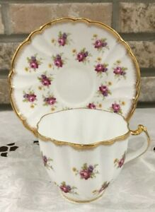 Stanley Fine Bone China Tea Cup Saucer Heavy Gilded Trim Floral England Marked