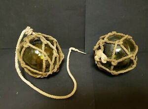 Pair Of Vintage Japanese Glass Fishing Balls Olive Green Floats Buoy Nets