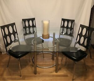 Vintage Chromcraft Smoked Lucite Mid Century Chrome Glass Dining Table Chair