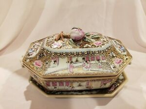 Antique Chinese Famille Rose Medallion Sauce Tureen Under Plate Lid Platter Dish