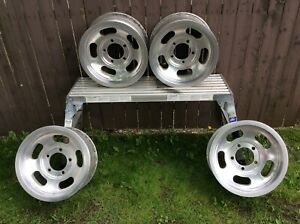 Vintage Aluminum Slot Mag Wheels 15 X 7 Oem Ford Dodge Jeep 5 Lug 5 5 Bp Clean