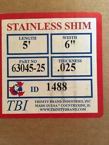 Stainless Steel Shim Stock 025 Thick 6 Wide 5 Long Sheet New Unopened Box