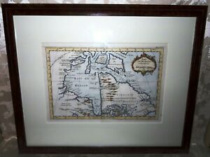 Hudson Bay Framed 1763 Jacques Nicolas Bellin Original Hand Colored Lithograph