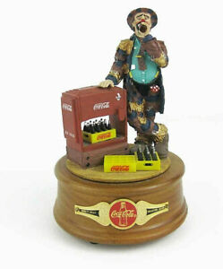 1994 Coca Cola Emmett Kelly Clown Figurine Music Box At The Coke Cooler
