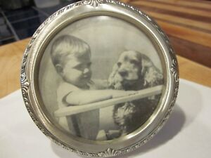 Vintage Antique Saart Sterling Silver Round Picture Frame