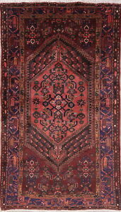 Tribal Hamedan Oriental Area Rug Handmade Persian Geometric Wool 4 X 7 Carpet