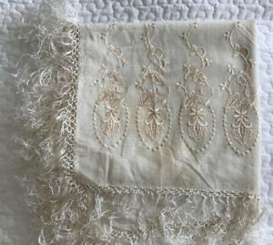 Antique Cream Silk Floral Embroidered Tasseled Piano Shawl Throw Scarf 54x52