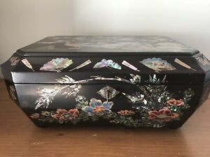 Beautiful Antique Large Japanese Inlaid Sewing Box Lacquered Mother Of Pearl