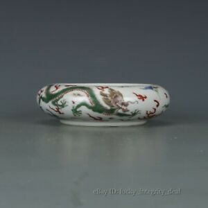 Rare Chinese Famille Rose Color Dragon Porcelain Brush Washer