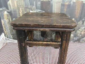 Vintage 1930 S Wooden Solid Oak Industrial Stool Plant Stand Lamp Side Table