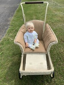Wicker Antique Baby Stroller Very Pretty