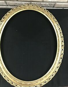 Italy Oval Vintage Reticulated Gold Gilt Wood Picture Art Mirror Frame 23x19