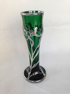 Art Nouveau Emerald Green Glass Vase With Sterling Overlay Circa 1900