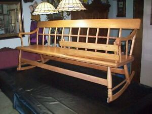 Vintage Antique Mammy 6 Foot Long Rocker Bench Old And Very Solid Unusual