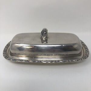 Wm A Rogers Carol Butter Dish With Lid And Glass Insert Vintage Silver Plated